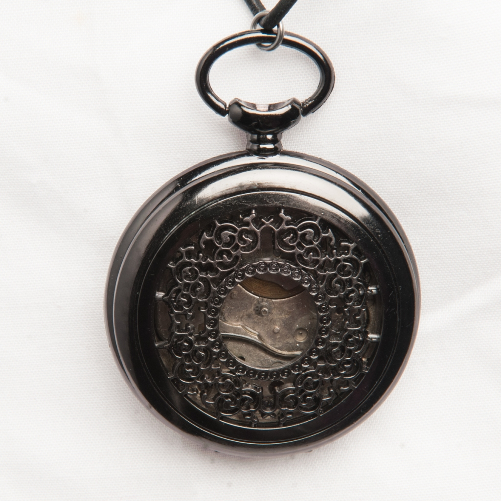 Antique Pocket Watch Black Pendant Back