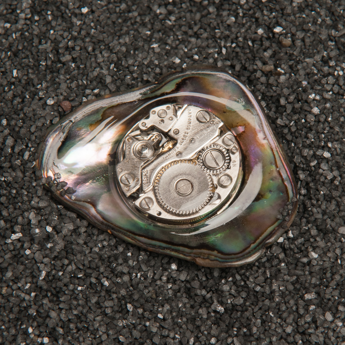 Paua Shell Watch Lapel Pin